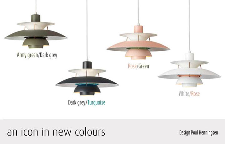 PH5 Contemporary 全4種類 アーミーグリーン/ダークグレー、ダークグレー/ターコイズ、ホワイト/ローズ、ローズ/グリーン。